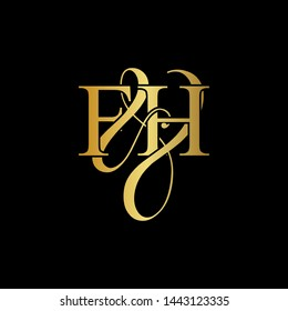 F & H / FH logo initial vector mark. Initial letter F&H FH luxury art vector mark logo, gold color on black background.