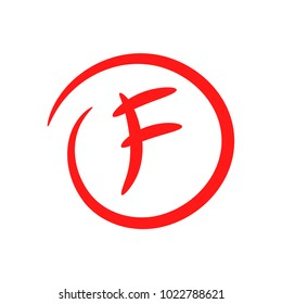 F. Hand drawn grade result with circle. Fail the exam. Worst work. Vector icon isolated on white background.
