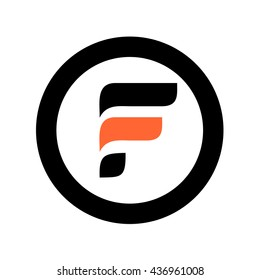 F initial logo and round