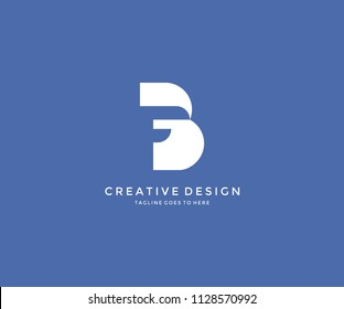 F Inside Isolated B Letter Logo Design