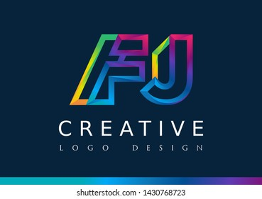 F J Logo. FJ Letter Design Vector with Magenta blue and green yellow color.