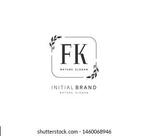 F K FK Beauty vector initial logo, handwriting logo of initial signature, wedding, fashion, jewerly, boutique, floral and botanical with creative template for any company or business.