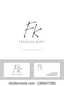 F K FK initial handwriting logo template vector.  signature logo concept