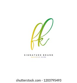 F K FK Initial letter handwriting and  signature logo concept design
