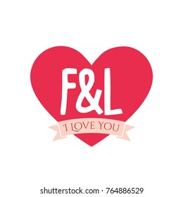 F love images stock photos vectors shutterstock f and l letter inside heart for st valentine day design i love you thecheapjerseys Choice Image
