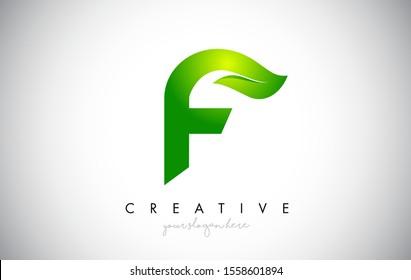 F Leaf Letter Logo Icon Design in Green Colors. Eco Bio Letter Design Vector Illustration.