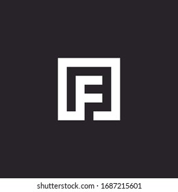 F letter abstract design line minimalist graphic logo template