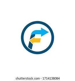 f letter arrow icon logo vector design