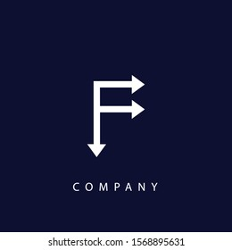 f letter with arrow logo design