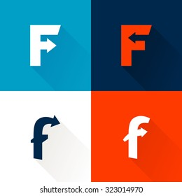 F letter with arrows set. Vector design template elements for your application or corporate identity.