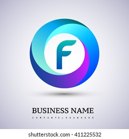 F letter colorful logo in the circle. Vector design template elements for your application or company identity.