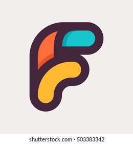 F letter colorful logo. Flat style design. Creative typographic elements for posters, t-shirts and cards.