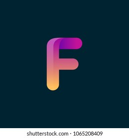 F Letter Initial Colorful typo logo vector icon illustration