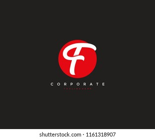 F Letter Isolated White Circle Corporate Logotype