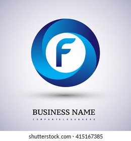 F letter logo in the blue circle. Vector design template elements for your application or company identity.