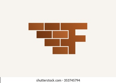 F letter Logo, brick wall logo design.