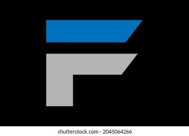 F letter logo design with blue and gry color.