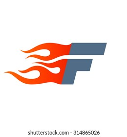 F letter logo design template. Fast fire speed vector unusual letter. Vector design template elements for your application or company.