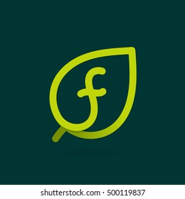 F letter logo in green leaf. Line style icon. Vector ecology elements for posters, t-shirts and cards.