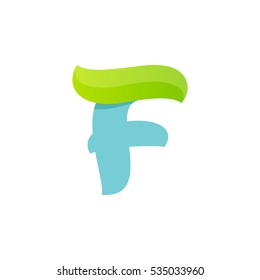 F letter logo with green leaf. Vector script font for your ecology posters, t-shirts, presentation or card.