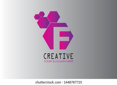 F Letter logo icon. Modern full color gradation design with unique shape for creative use. Vector illustration