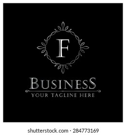 F letter Luxury Logo template flourishes calligraphic elegant ornament lines. Business sign, identity for Restaurant, Royalty, Cafe, Hotel, Heraldic, Jewelry, Fashion and other vector illustration