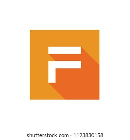 F Letter Vector Logo, Pixel Art Style Letter F Logo, F Letter Icon Design With Orange Square