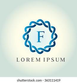 F letter vector logo template (sign, symbol, emblem, ornament). Tracery logo. Wave ornament dynamic logo.