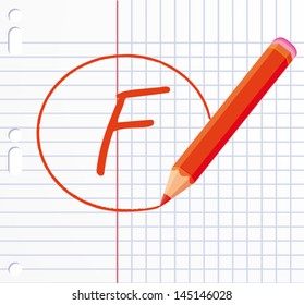 F letter written with a red pencil. Bad rating. Vector illustration.