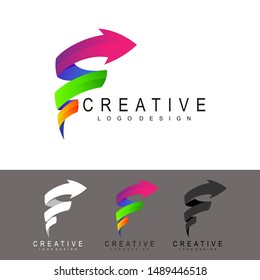 F logo and arrow design combination, Ribbon icon, Modern logotype icon