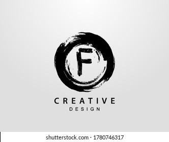 F Logo With Circle Splatter Element. VintageCircle Wave logo design template.