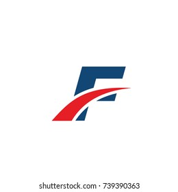 f logo, f initial overlapping swoosh letter logo blue and red