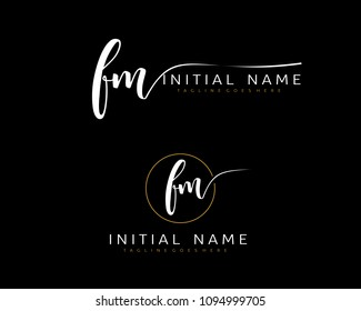 F M Initial handwriting logo vector. Hand lettering for designs.