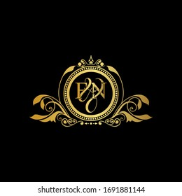 F & N / FN logo initial vector mark. Initial letter F and N FN logo luxury vector mark, gold color elegant classical symmetric curves decor.