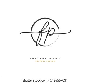 F P FP Beauty vector initial logo, handwriting logo of initial signature, wedding, fashion, jewerly, boutique, floral and botanical with creative template for any company or business.