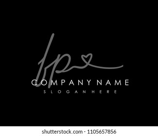 F P Initial handwriting logo vector