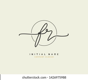 F R FR Beauty vector initial logo, handwriting logo of initial signature, wedding, fashion, jewerly, boutique, floral and botanical with creative template for any company or business.