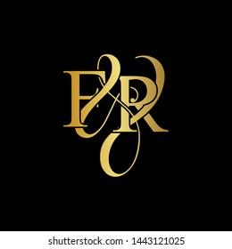 F & R / FR logo initial vector mark. Initial letter F&R FR luxury art vector mark logo, gold color on black background.