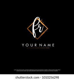 F R Initial abstract logo template vector