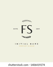 F S FS Beauty vector initial logo, handwriting logo of wedding, fashion, jewerly, heraldic, boutique, floral and botanical with creative template for any company or business.