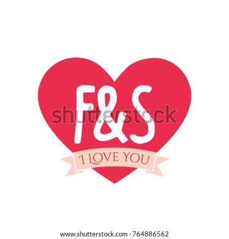 f and s letter inside heart for st valentine day design i love you