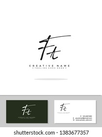 F T FT initial handwriting logo template vector.  signature logo concept