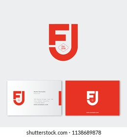 F and U letters monogram. Interlaced, crossed letters F and U. Letters like red shield, isolated on a dark background. Flat linear style emblem. Business card.
