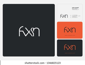 F X N Letters Joint logo icon and business card vector template.