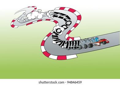 f1 formula race to fast team circuit cartoon