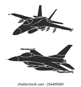 F-18 and F-16 fighter jets. Vector illustration.