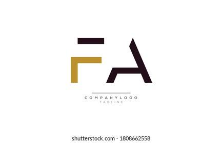 FA initials monogram letter text alphabet logo design