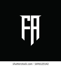 FA logo monogram with emblem shield style design template