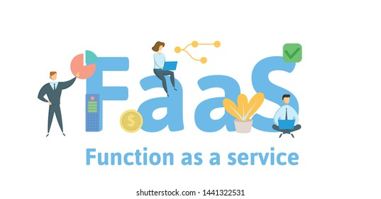 FaaS, Function as a Service. Concept with people, keywords and icons. Colored flat vector illustration. Isolated on white background.