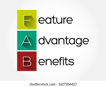FAB - Feature Advantage Benefits acronym, business concept background